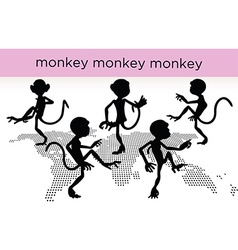 monkey silhouette in various poses vector image vector image