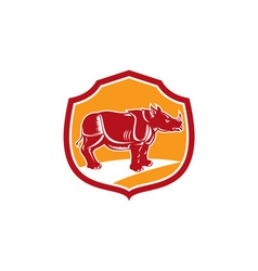 Rhinoceros Standing Shield Retro vector image vector image