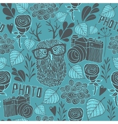 Seamless pattern with owl and photo camera vector image vector image