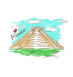 Sketch of Chichen Itza Mayan Pyramid in Mexico vector image vector image