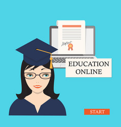 start education online with girl laptop and vector image