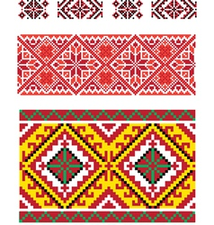 Three seamless folk borders vector image vector image