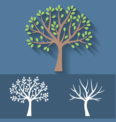 tree and tree without leaves icon vector image