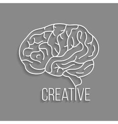 white outline brain with shadow vector image vector image