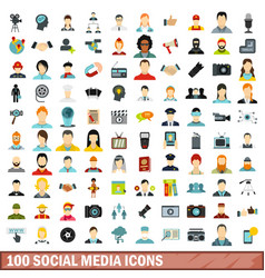100 social media icons set flat style vector