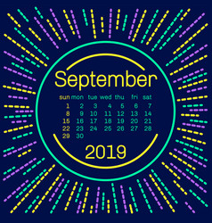 2019 september calendar page in memphis style vector