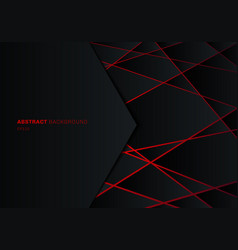 Abstract template black geometric polygon on red vector