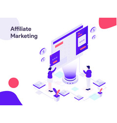 affiliate marketing isometric modern flat design vector image