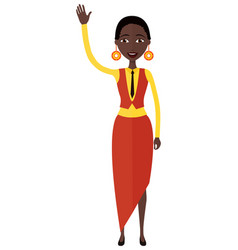 african american business woman waving her hand vector image