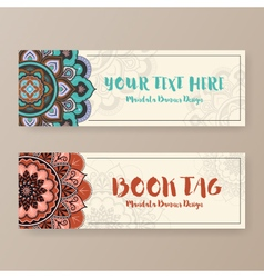 Assortment of banner with ethnic abstract drawings vector image