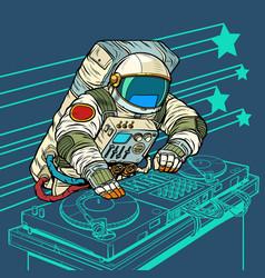astronaut cosmonaut dj on vinyl turntables vector image
