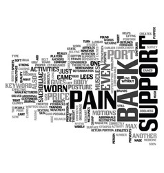 Back pain support text word cloud concept vector