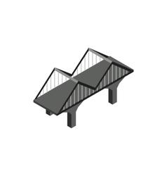 Black bridge icon in isometric 3d style vector