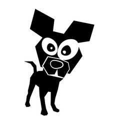 Black icon funny doggy vector