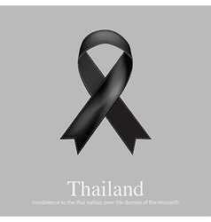 Black ribbon mourning sign for Thailand sad news vector