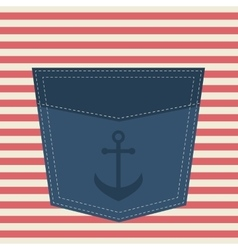 blue pocket with anchor vector image