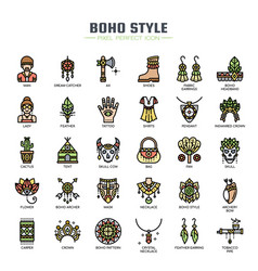 Boho style thin line and pixel perfect icons vector