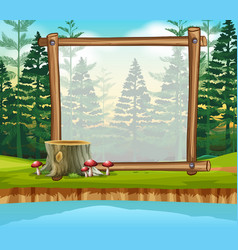 Border template with pine forest in background vector