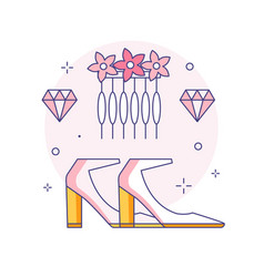 Bridal shoes and hair accessories line icon vector