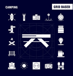 Camping solid glyph icon pack for designers and vector