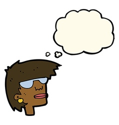 cartoon female face with glasses with thought vector image