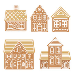 cartoon festive gingerbread houses set vector image
