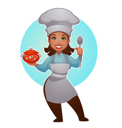Cartoon woman chef proffessional lady for your vector