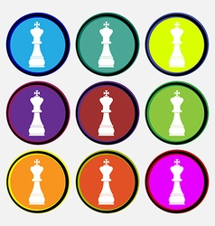Chess king icon sign Nine multi colored round vector