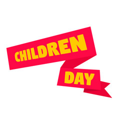 children day banner icon flat style vector image