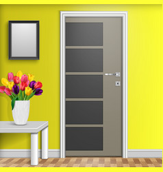 closed door with vase and flowers over white table vector image