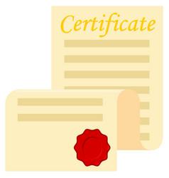Colorful cartoon open certificate scroll vector