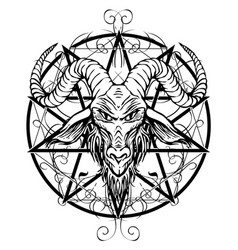 contour drawing of horned goat head and pentagram vector image