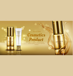 Cosmetics beauty product bottles with oil splash vector