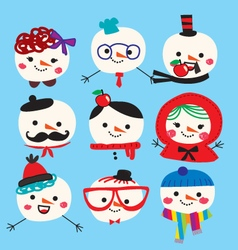 Cute snowmen family pattern vector