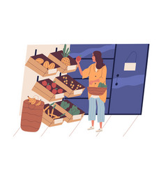 Cute young woman with shopping basket buying food vector