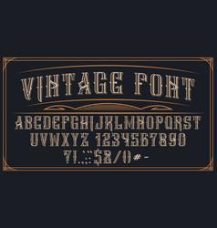 Decorative vintage font on dark background vector