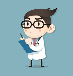 doctor tiny character health check vector image