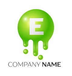 E letter splash green dots and bubbles letter vector