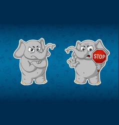 elephant stop sign holds in hands warning vector image