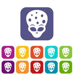Extraterrestrial alien head icons set vector