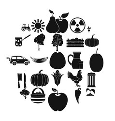 farmer icons set simple style vector image