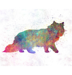 Forest cat in watercolor vector