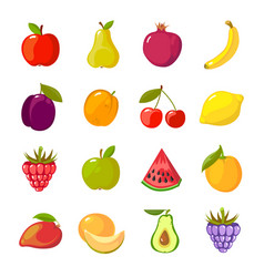 fruits cartoon set fresh healthy food apples vector image