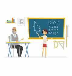 Geometry lesson at school - modern cartoon people vector
