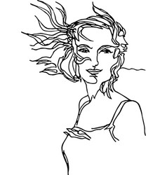 girl with hair developing in wind continuous line vector image