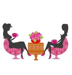 Girls in coffee break - silhouette vector