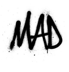 graffiti mad word sprayed in black over white vector image