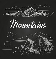 Hand sketched mountains landscapes on blackboard vector