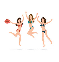 Happy bikini woman jumping of joy and success on vector