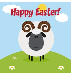Happy Easter Background with a Ram vector image
